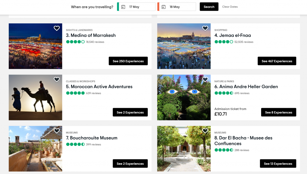 Best sites to book excursions - Shows list of tours on Tripadvisor
