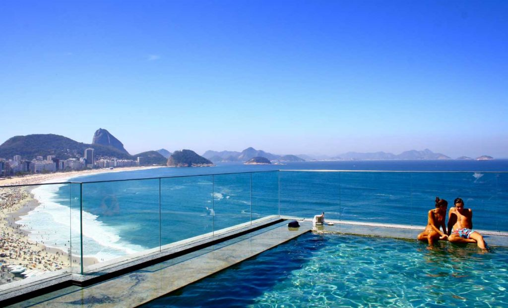 Romantic view from a rooftop swimming pool