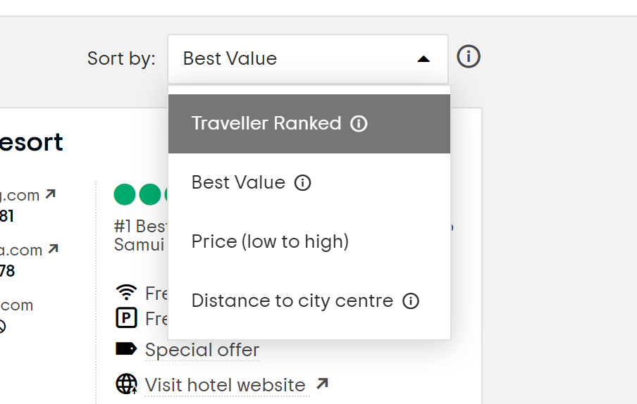 How to find the cheapest hotel prices - Shows Tripadvisor sorting screenshot