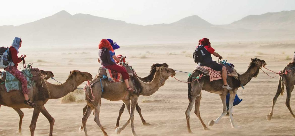 Best group holiday destinations - Shows a group of friends in the dessert