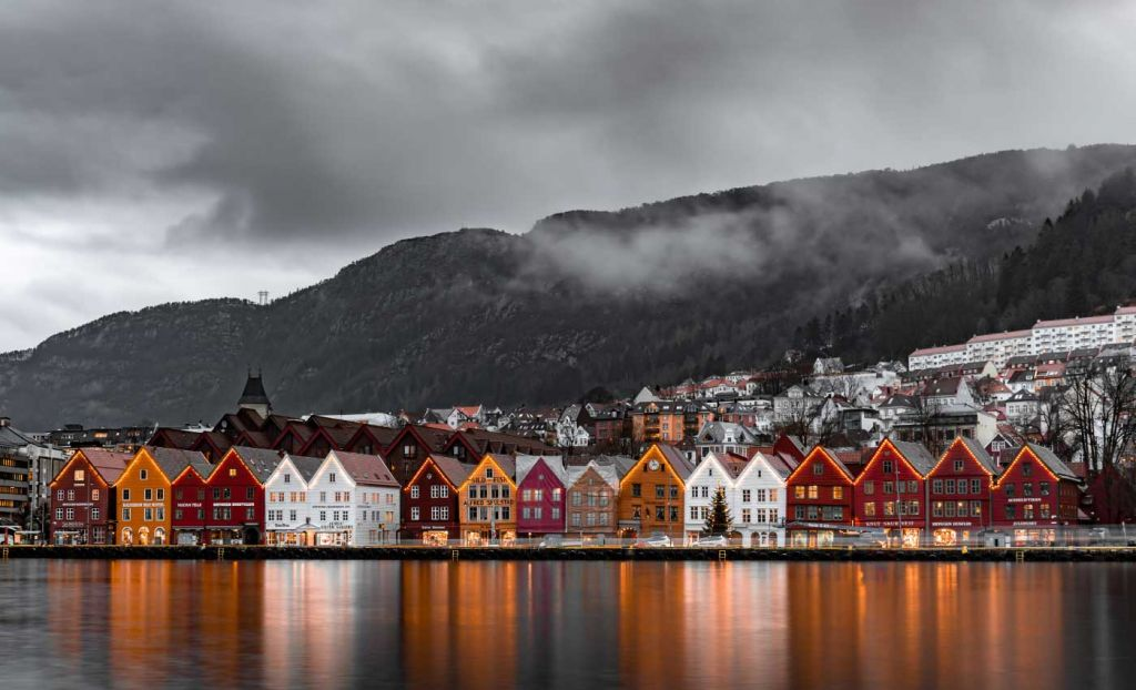 Romantic places to go on holiday - The town of Bergen at night