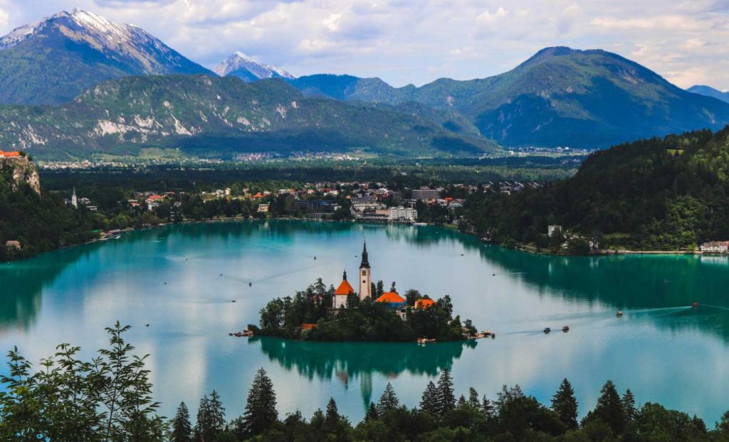Romantic places to go on holiday - Shows a picturesque view of Lake Bled