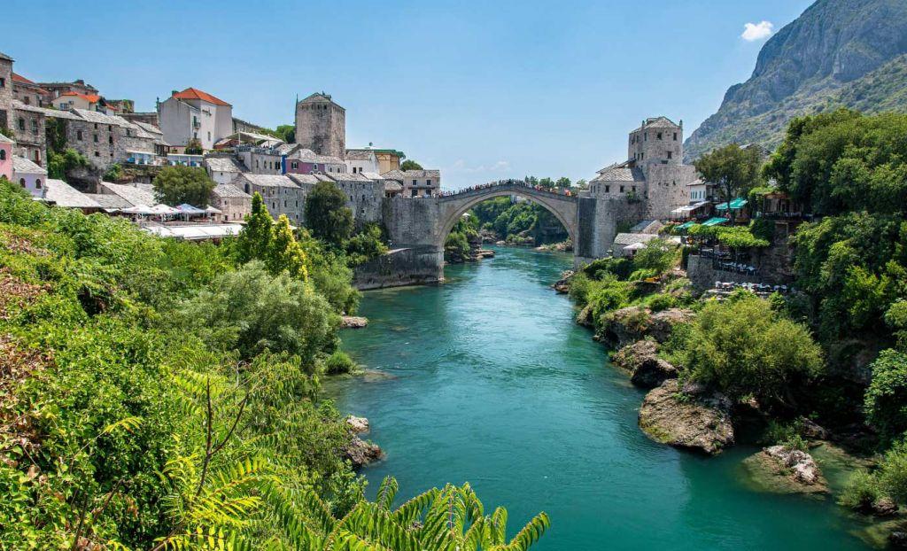 Romantic holiday destinations - Shows the beautiful bridge of Mostar