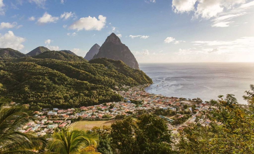 Romantic places to go on holiday - Tropical scenery of St Lucia