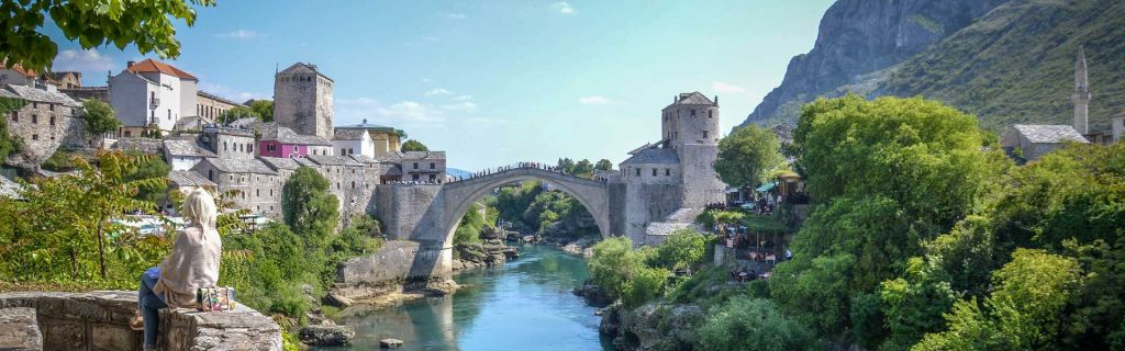 Romantic places to go on holiday - Shows Mostar bridge