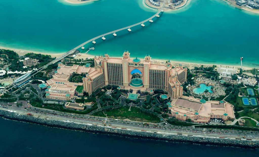 A view of the Atlantis hotel in Dubai from above