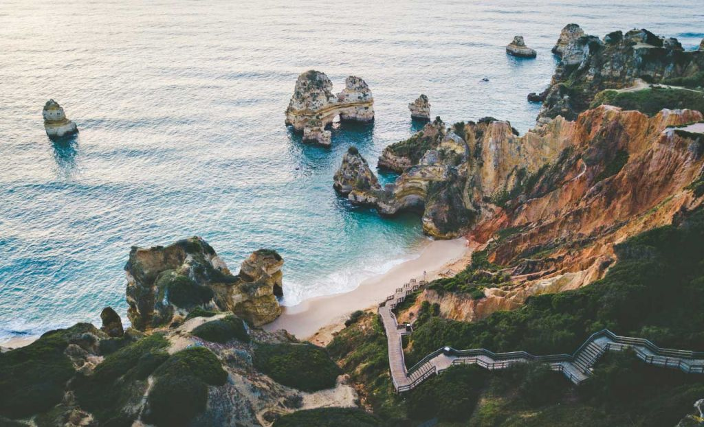 Shows the beaches of Lagos, Portugal