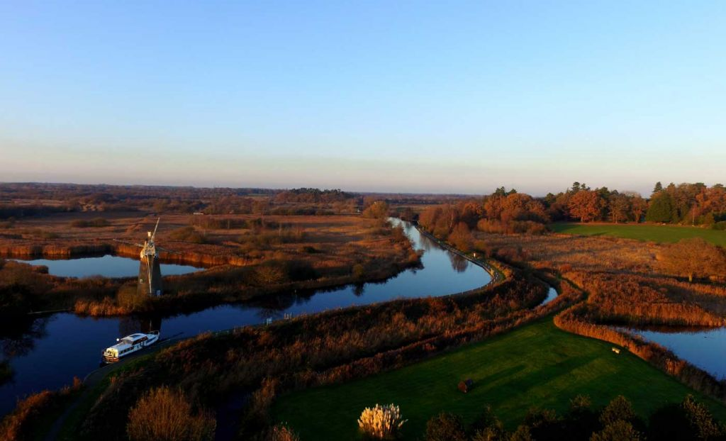 An overhead view of the Norfolk Broads