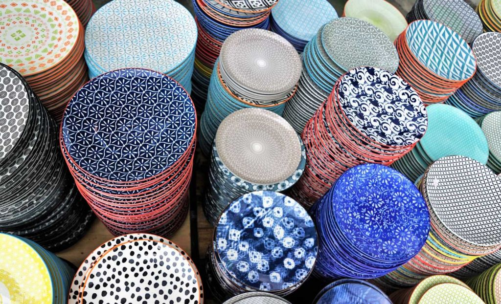 Selection of colourful plates in a shop