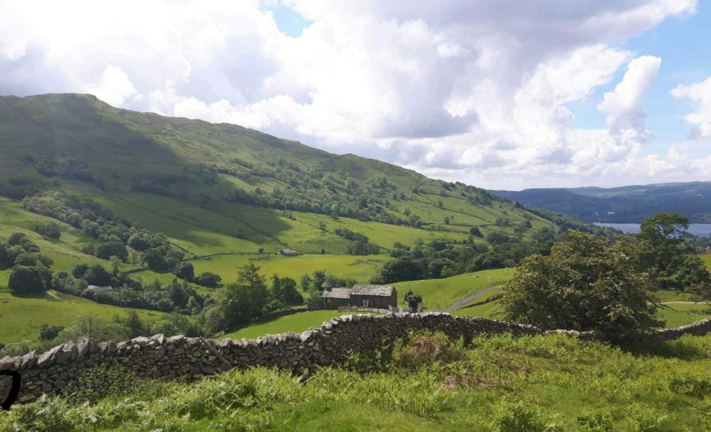 Panoramic view of the rolling hills of the lake district