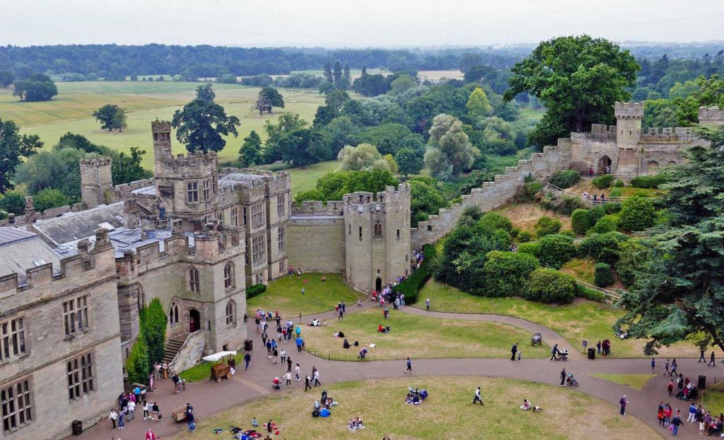 Tourists visiting Warwick Castle