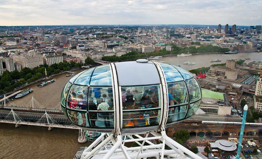 Shows the view from the London Eye attraction