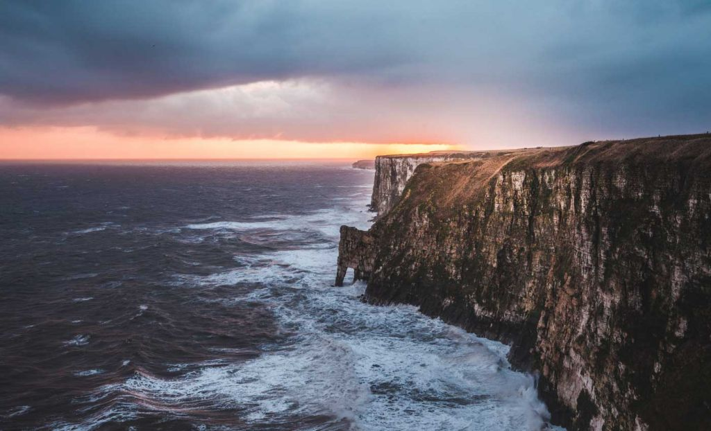 Shows Bempton Cliffs in East Yorkshire