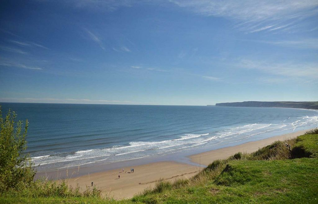 Shows Filey Beach in Yorkshire