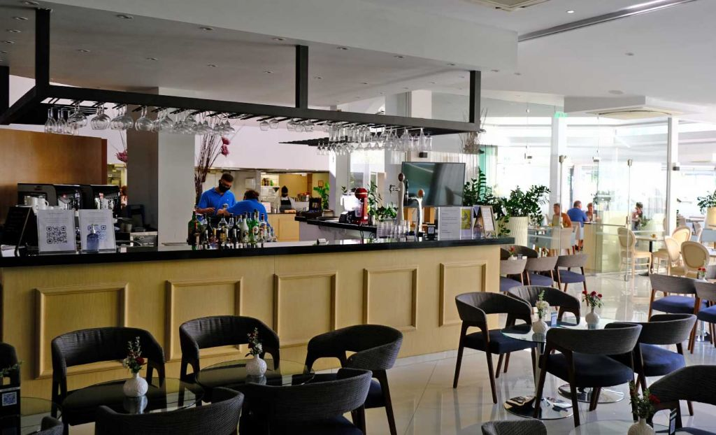 Shows the main bar area of the hotel