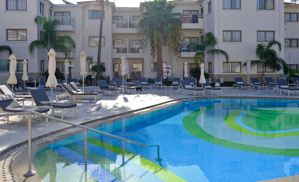 Shows the Centro pool at The King Jason Paphos Hotel