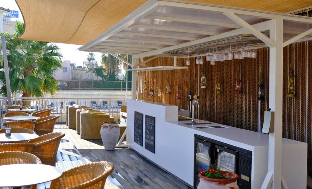 The Deck Pool bar seating area