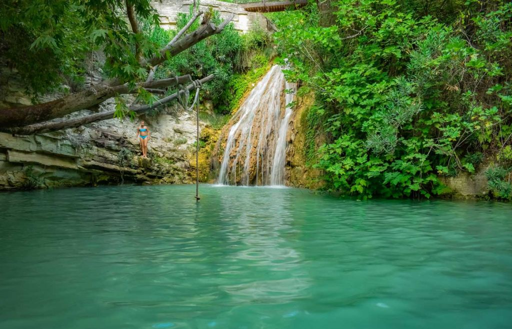 Paphos day trips - View of Adonis Baths Waterfall lagoon