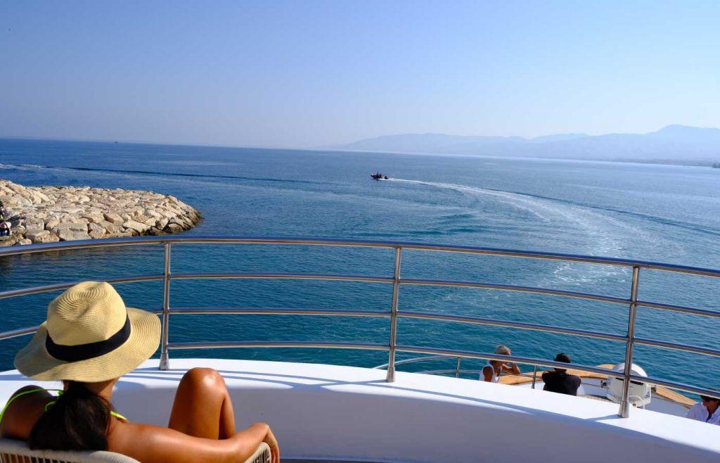 View from a boat at Akamas National Park Blue Lagoon