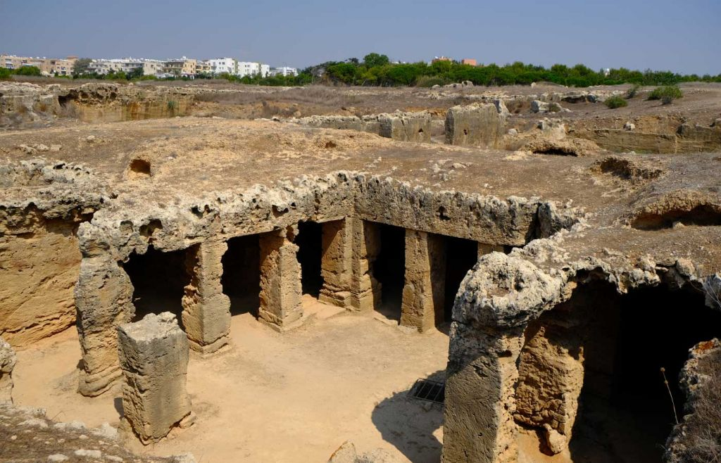 Best things to do in Paphos - Shows the Tomb of the Kings ruins