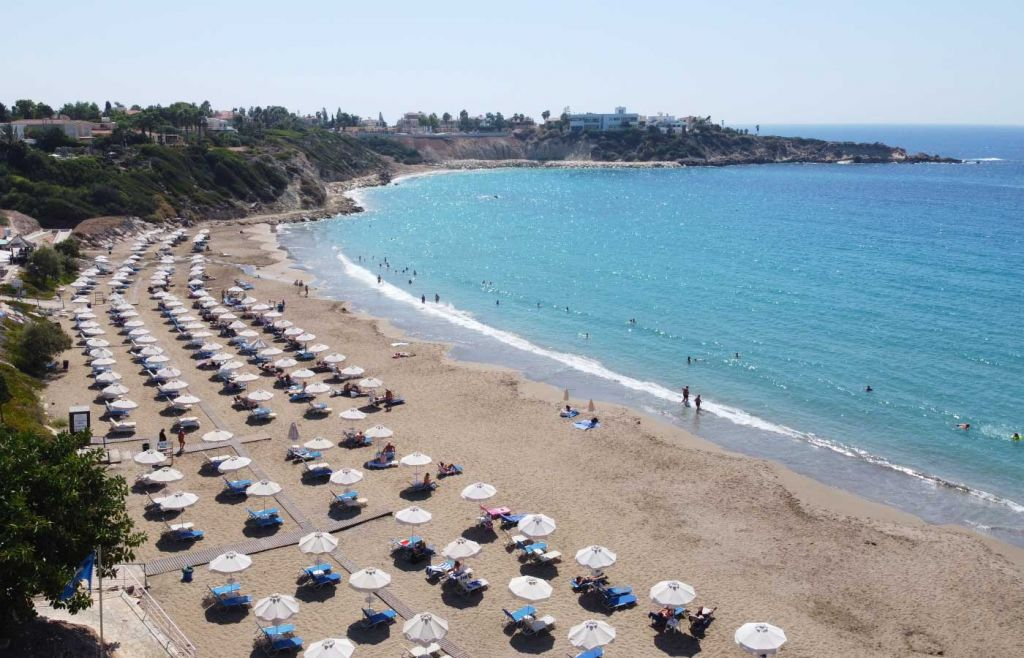 Travelling during the pandemic to Cyprus - overhead view of a beach
