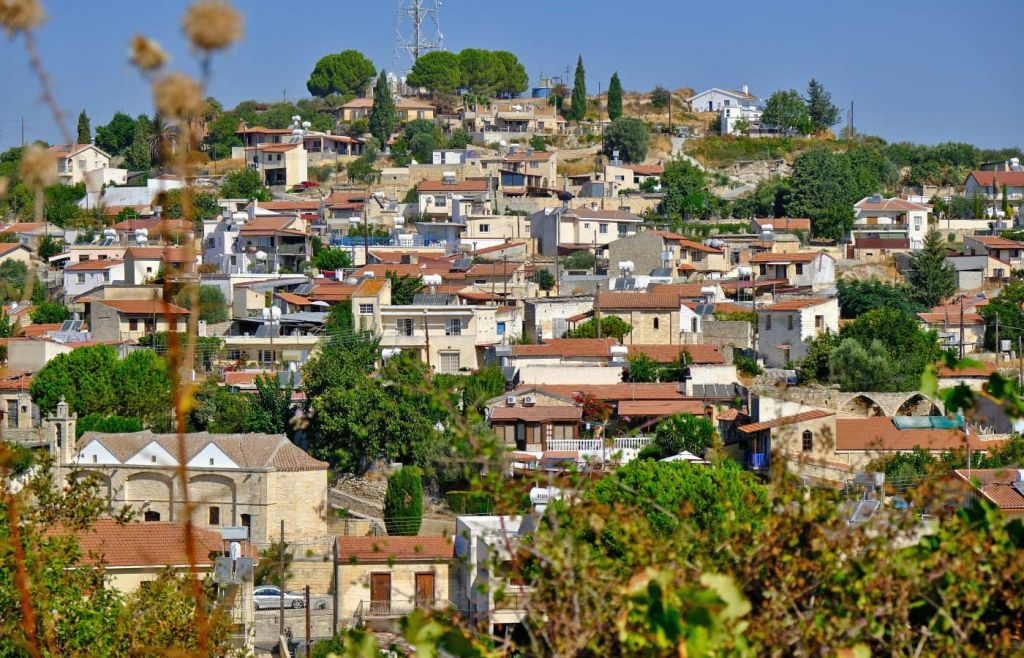 Shows a village in the Troodos Mountains