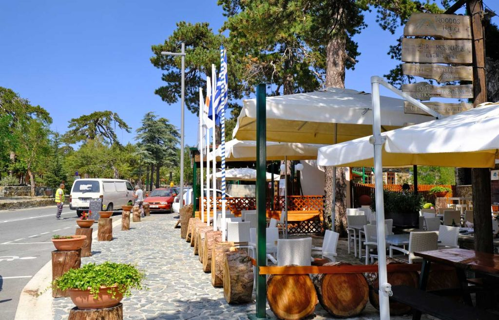 Shows a restaurant in Troodos Square, Cyprus