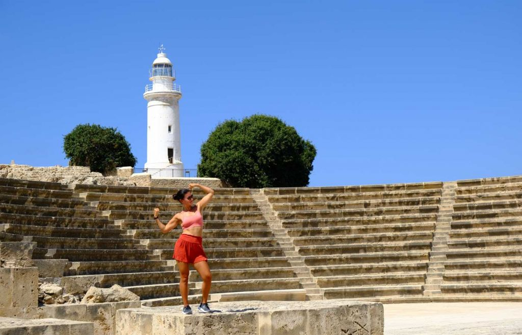 Shows the ancient monuments and lighthouse by Paphos marina