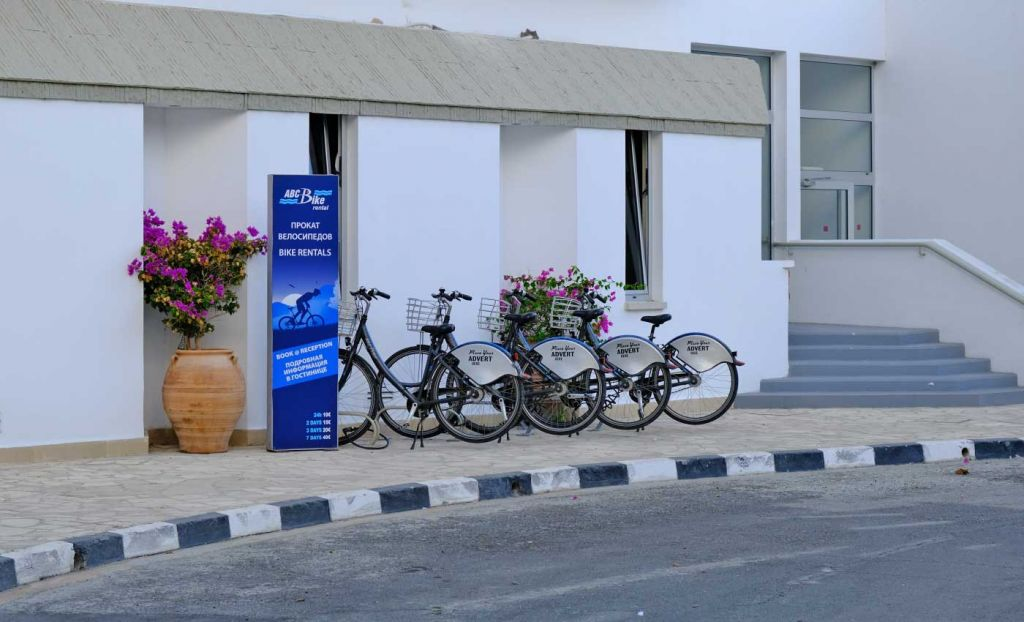 Bike rentals outside the hotel entrance