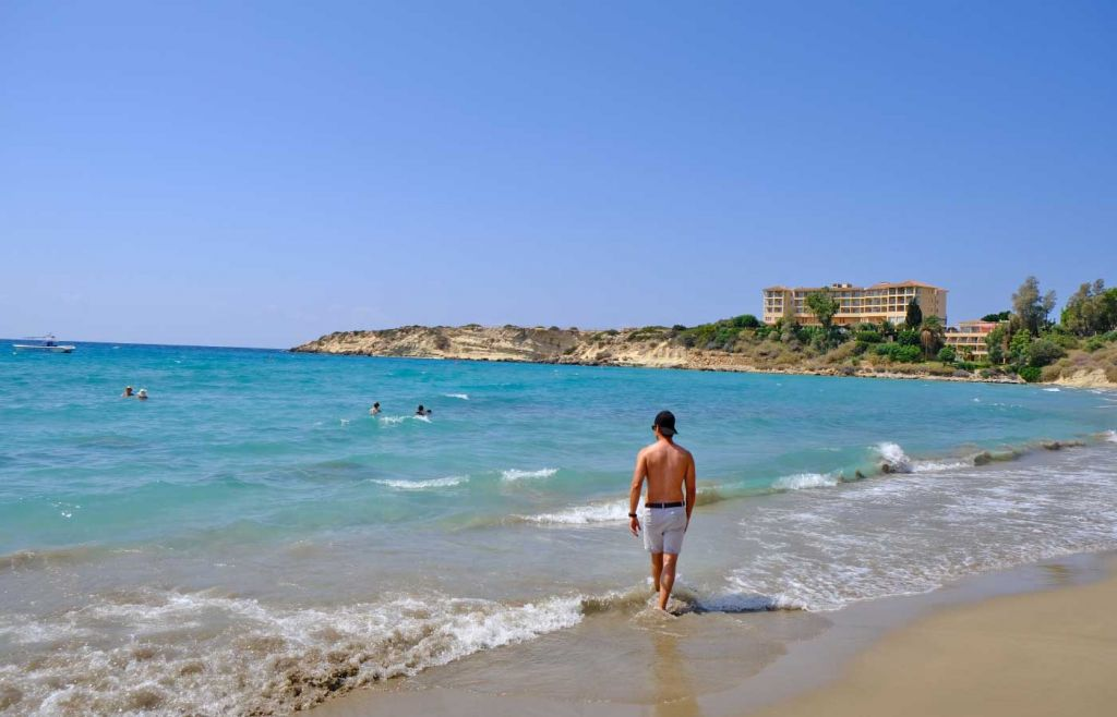 The best beaches in Paphos - Walking on Coral Bay beach