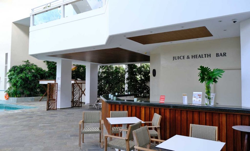 Shows the Juice and Health bar at the Leonardo Plaza Cypria Hotel