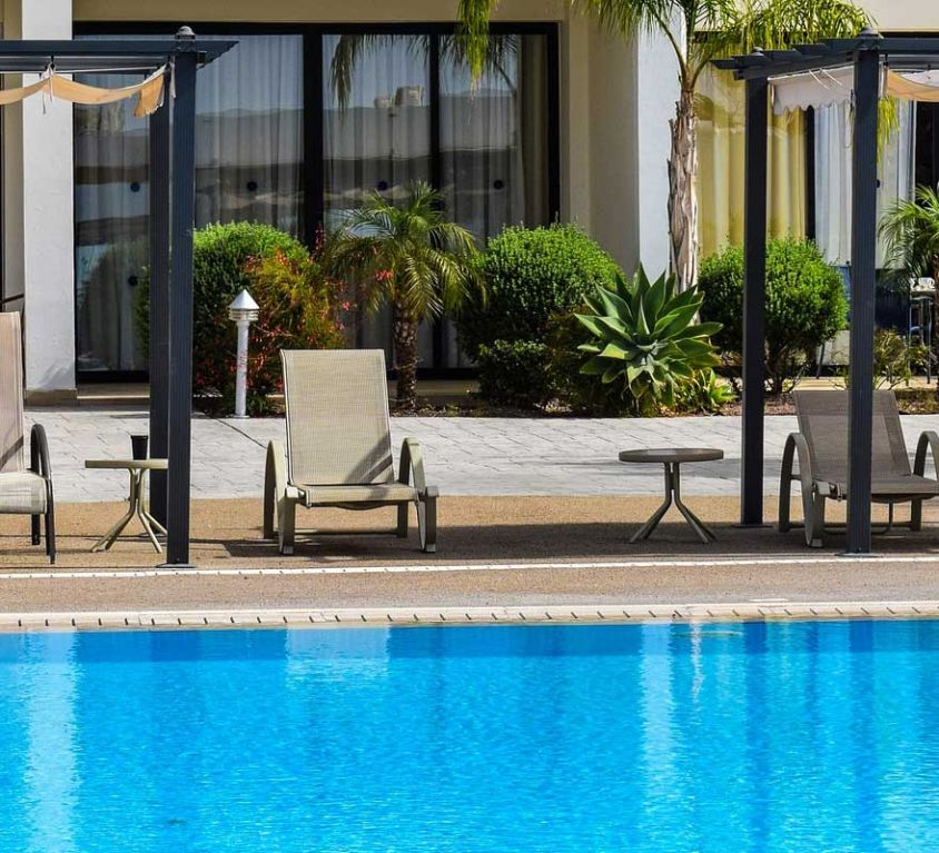 The best paphos hotels - Shows swimming pool in front of hotel