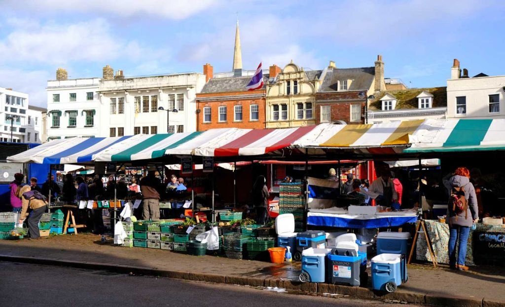 Cambridge attractions - Market Square food stalls