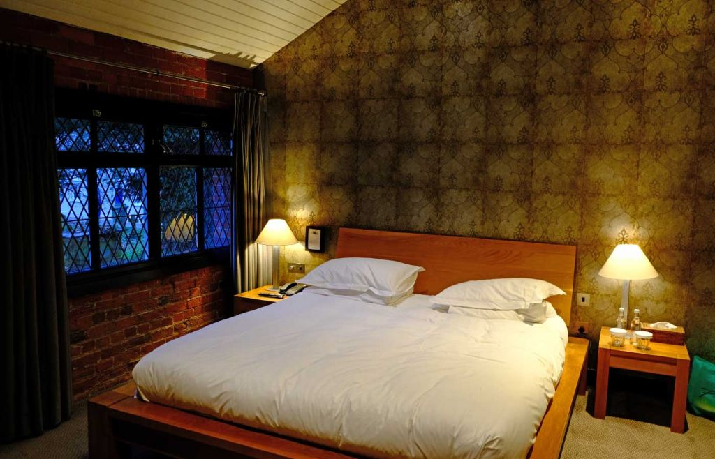 View of our bed and room at Hotel Du Vin Henley