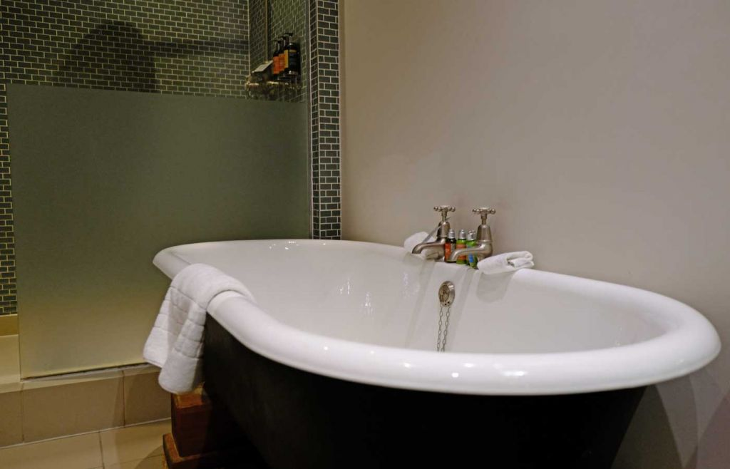 Roll top bath and rainfall shower
