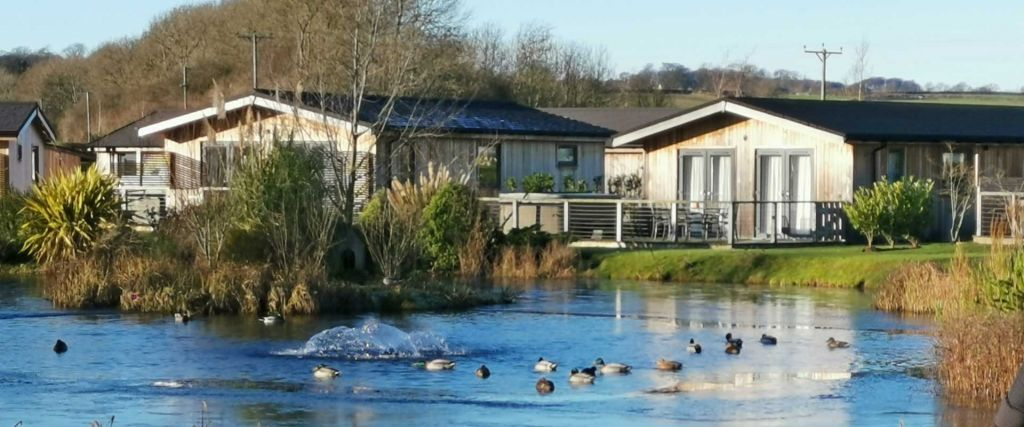 Cedar Retreats West Tanfield lodges - Shows main lake with surrounding holiday homes