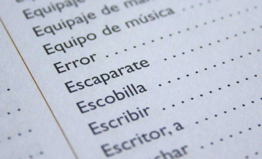 Shows a list of Spanish words