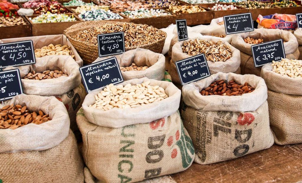 Nuts and grains at a food market in Spain