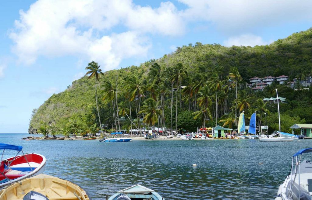 St Lucia tropical beach and boats