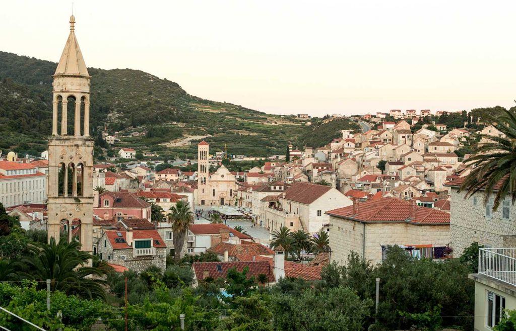 Split town at sunset