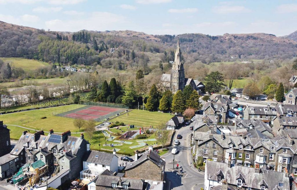 Best places to visit in the Lake District - Ambleside town from above