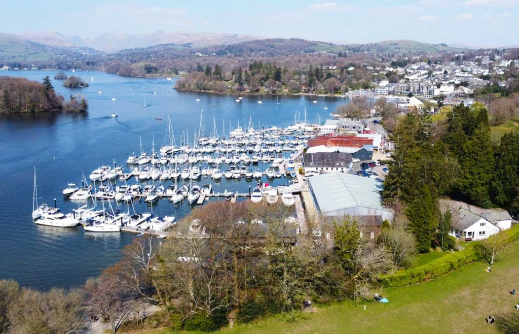 Best places to visit in the Lake District - Bowness marina from above