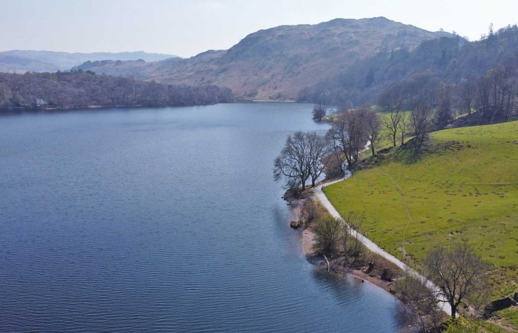 Overhead view of Grasmere Water