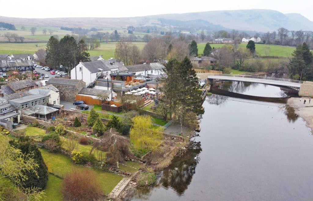 Aerial view of Pooley Bridge town