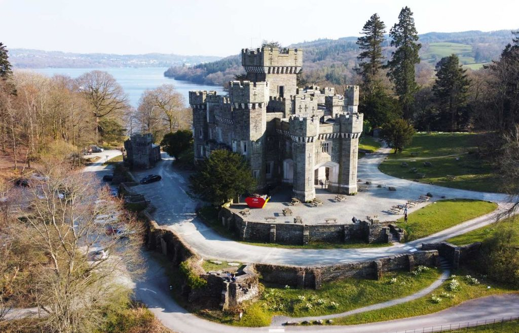 Aerial view of Wray Castle