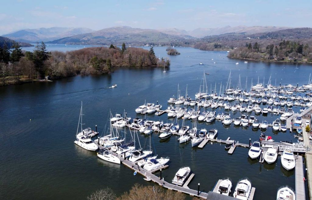 Overhead shot of Bowness marina