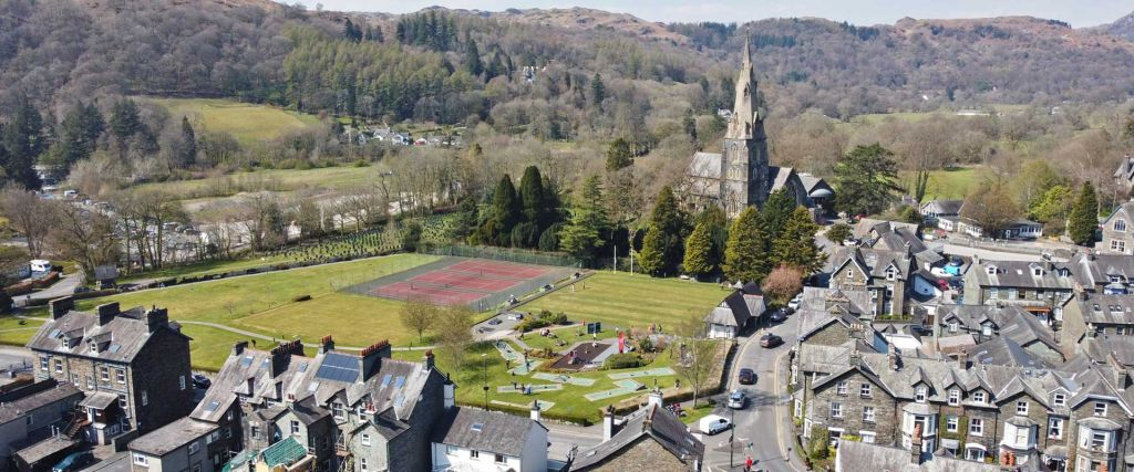 Ambleside Lake District travel guide - Shows the town from above