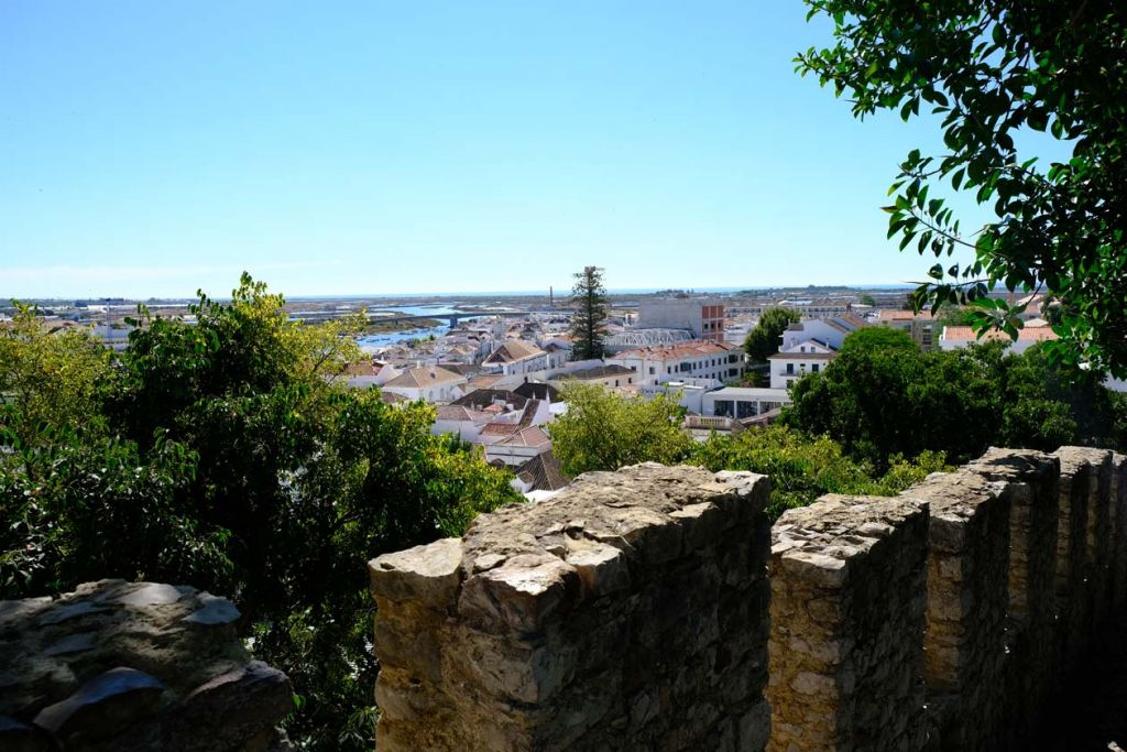 Tavira castle looking out at the town