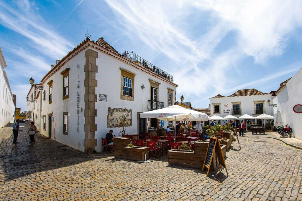 Faro town square with outdoor restaurant seating