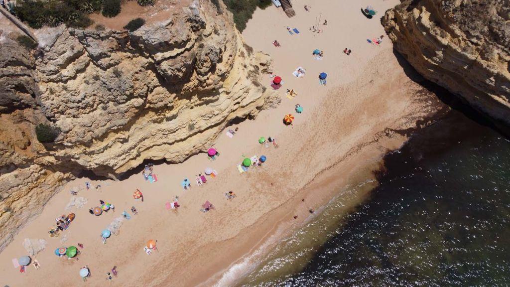 Praia da Marinha drone shot from above
